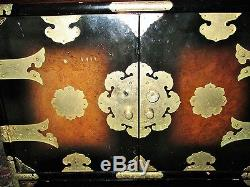 Vintage Chinese Burl Wood End Table Brass Mounts Safe Jewelry Box Ornate Stand