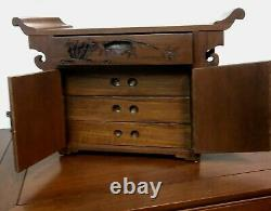 Vintage Chinese Cabinet Bar End table Jewelry Box Altar Pagoda Style 3 piece