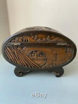 Vintage Chinese Camphor Wood Oval Jewelry Trinket Box Hand Carved Early 1900's