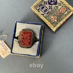 Vintage Chinese Gold Gilt Carved Cinnabar Statement Ring with Box (6 1/2 7)