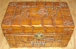 Vintage Chinese Hand Carved Camphor Wood Jewelry Trinket Box Circa Mid 1900's