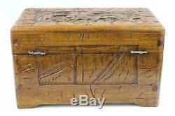Vintage Chinese Hand Carved Harwood Jewellery Box 26x16x16cm