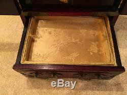Vintage Chinese Hand Made Jade & Brass Wood Jewelry Box Chest Cabinet