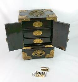 Vintage Chinese Hardwood Brass And Green Hardstone Jewellery Cabinet