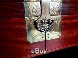 Vintage Chinese Hardwood Jewellery Chest + 74 Pieces of Jewellery & Misc Items