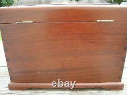 Vintage Chinese Huali Wood Rosewood Jewelry Box with Brass Hardware