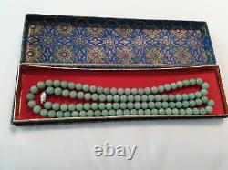 Vintage Chinese Jade Necklace, 34 Long With Silver Clasp. With Box