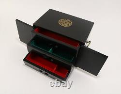 Vintage Chinese Jewelry Box Black Lacquer Wooden Hand Painted Brass