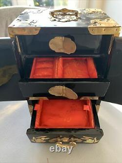Vintage Chinese Jewelry Box, Brass Bound, Mother Of Pearl Inlay & Satin Draws