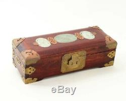 Vintage Chinese Jewelry Box Dark Wood & Brass Carved Jade Inlay 10 x 4 x 3