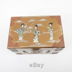 Vintage Chinese Jewelry Box Gold Painted Wood Chest 14 Asian Carved Shell