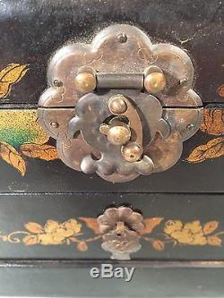 Vintage Chinese Jewelry Box with Drawer & Hinged Mirror, Painted Flowers & Birds