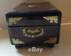 Vintage Chinese Lacquered Jewelry Box Brass Hardware & Accents