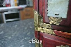 Vintage Chinese Miniature Cabinet / Jewellery Box Stone inlay & Brass details