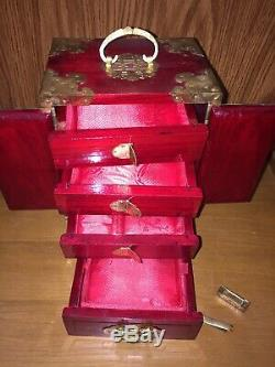 Vintage Chinese Miniature Jewelry Box Armoire Chest Trunk With Lock & Key