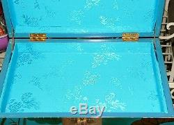 Vintage Chinese Oriental Teal Turquoise Black Lacquer Jewelry Cabinet Chest Box