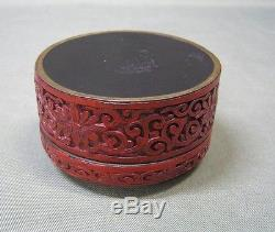Vintage Chinese Red Cinnabar Lacquer Jewelry Box, Deeply Carved Asian
