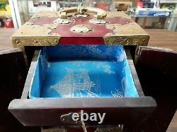 Vintage Chinese Rose Wood Jewelry Box With Brass Lining And Jade Carvings
