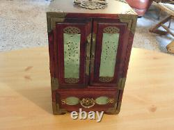 Vintage Chinese Rose Wood Jewelry Box With Carved Jade & Brass with lock + key