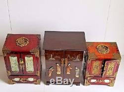 Vintage Chinese Rosewood Brass Inlay Carved Jade Stone Jewelry Box Set