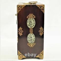 Vintage Chinese Rosewood & Brass Jewelry Box WithCarved Nephrlite Jade Medallions