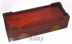 Vintage Chinese Rosewood Jewelry Box Blue Silk Lined