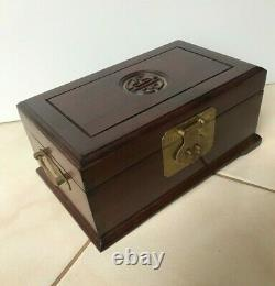 Vintage Chinese Rosewood Jewelry Box Carved longevity character In Center