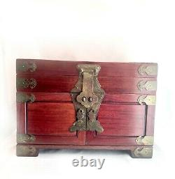 Vintage Chinese Rosewood Jewelry Box Red w Silk Lining