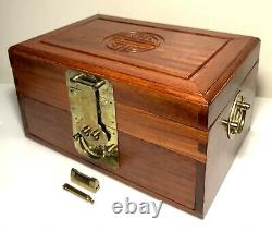 Vintage Chinese Rosewood Jewelry Box with Lined Red Silk With Lock