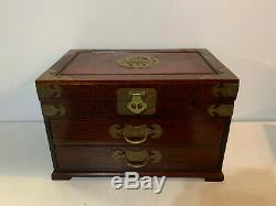 Vintage Chinese Rosewood Red Silk Lined Jewelry Chest Box with Bat Form Hardware