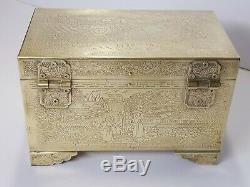 Vintage Chinese Storyteller Engraved Brass Jewelry Box Mirror Black Lacquer