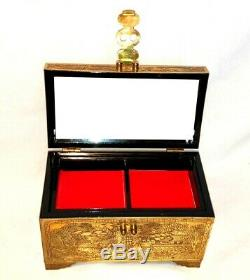 Vintage Chinese Storyteller Engraved Brass Vanity Jewelry Box with Lock and Key