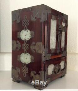 Vintage Chinese Wedding Wood Jewelry Box with Brass & Ornate with JADE INLAY