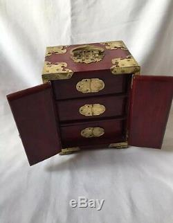 Vintage Chinese Wood & Brass & Jade Jewellery Box/ Chest Red