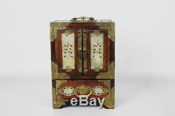 Vintage Chinese Wood & Jade Jewelry Box Chest
