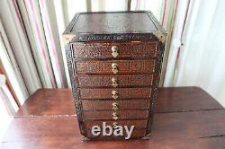 Vintage Chinese Wood Jewelry Box 8 Drawers, Small Table Cabinet