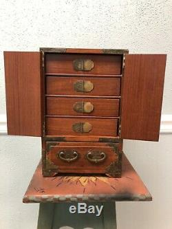 Vintage Chinese Wood Jewelry Chest Hand Crafted