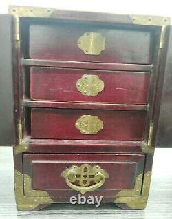 Vintage Chinese Wood and Brass Jewellery Box with Carved Jade Inlay