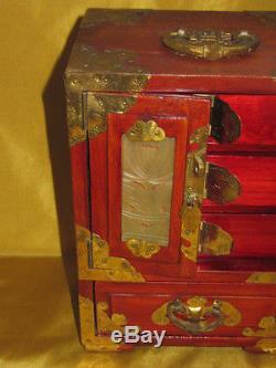 Vintage Chinese Wooden Jade Jewelry Box