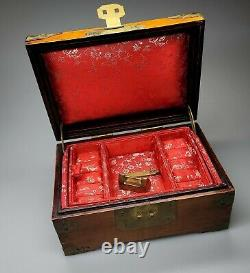 Vintage Chinese Wooden Jewelry Box withBrass Mounts & Jade Decoration, 8 x 5 1/4