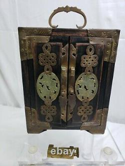 Vintage Chinese Wooden Jewelry Box with Jade and Etched Brass Lock no Key