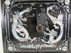 Vintage Chinese bronze, wood & mother of pearl jewelry cabinet # D11464