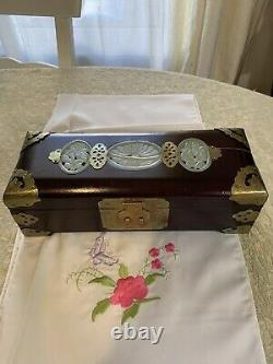 Vintage Chinese jewelry box with Genuine Hand Carved green Jade Rare Excellent