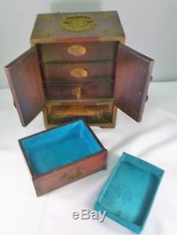 Vintage Chinese or Asia Wood Jewelry Chest with Metal Mounts & Bone Inlays