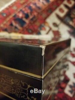 Vintage Chinese or Japanese Lacquered Jewelry Box Carved Stones Hand Painted