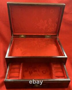 Vintage Gumps Chinese Rosewood Two Tier Jewelry Box, red silk 11.5 x 8 x 6