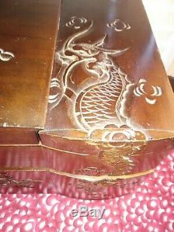 Vintage Hand Carved Fold Out Wood Asian Chinese China Jewelry Box Estate Find