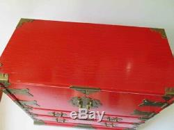 Vintage Handmade Large Red JEWELRY BOX / TRUNK / CHEST