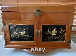 Vintage Jewelry Box Chest Unique Oriental Chinese Asian Scene XL