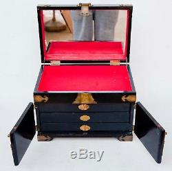 Vintage LAQUER Wood CHINESE Tansu Chest Jewelry Box 3 Drawer JADE FIGURES